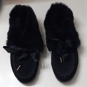 Tory Burch Black Leather Aberdeen Slippers